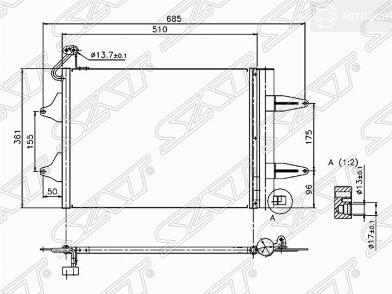 радиатор кондиционера seat cordoba  02-/ibiza 01-/